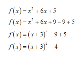 f(x)=x +6x +5 f(x)x6x +9-9+5 f(x) (x3)9+5 f(x)(x+3)-4