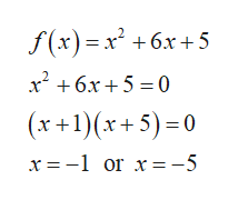 +6x+5 x26x5 0 (x+1(x+5) 0 x =-1 or x= -5