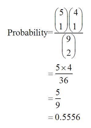 5 4 1 1 Probability 9 2 5x 4 36 0.5556