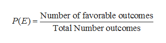 Number of favorable outcomes P(E) Total Number outcomes