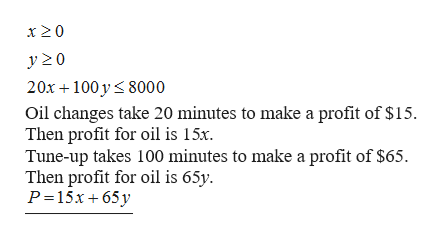 x20 20x 100 y 8000 Oil changes take 20 minutes to make a profit of $15 Then profit for oil is 15x. Tune-up takes 100 minutes to make a profit of $65. Then profit for oil is 65y P 15x 65 y