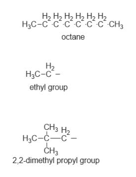 """На Н2 Нz Н2 Н2 Н2 H3C-C C C C-c C CH3 octane Н2 НаС-с""""- ethyl group CH3 H2 Н-с-с— с CH3 2,2-dimethyl propyl group"""