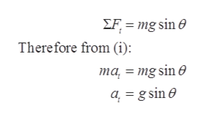 EFmg sin e Therefore from (i): та %3 mg sin @ a = gsin e