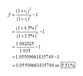 (1+72) f = -1 (1+) (1+4.5%) -1 (1+3.5%) 1.092025 1.035 1.05509661835749-1 0.05509661835749 or 5.51%