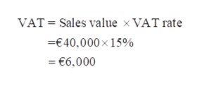 VAT Sales value x VAT rate €40.000x 15% =€6.000