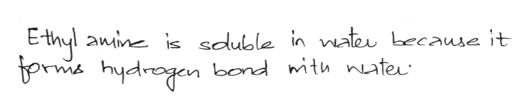 E-thyl anine is sduble in nate Lecause it borm hydragan bond ith nater