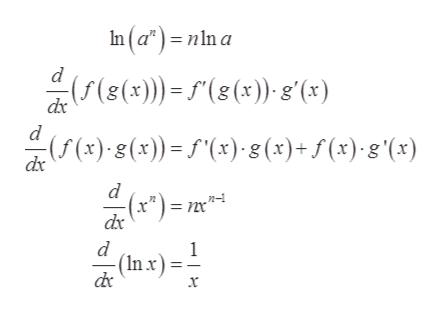 In(a*)nln a (s())(8(x) g'(x) dx d (5 (x)-g(x))= 5'(x),g (x)+ f (x)g \(x) dx (x*)= nm* n dx d 1 (In x x