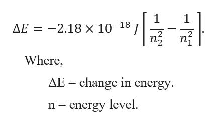1 AE 2.18 x 10-18 1 n Where, AE change in energy n energy level