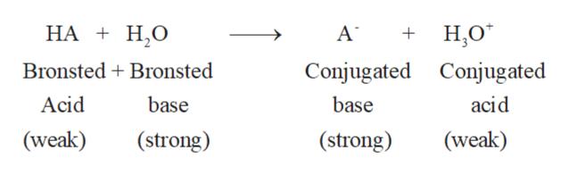 НА + Н.О Н.о AT Bronsted Bronsted Conjugated Conjugated base Acid base acid (strong) (weak) (strong) (weak)