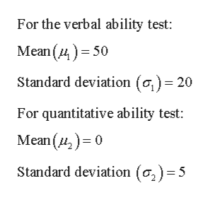 For the verbal ability test: Mean (450 Standard deviation (o) 20 For quantitative ability test: Mean()0 Standard deviation (o,) =5