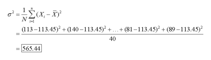 """- """"Σα-5 (113-113.45)2(140-113.45)2 ...+ (81-113.45)2 (89-113.45) 40 565.44"""