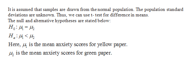 It is assumed that samples are drawn from the normal population. The population standard deviations are unknown. Thus, we can use t- test for difference in means The null and altemative hypotheses are stated below: Ho 42 Here, 4i the mean anxiety scores for yellow paper is the mean anxiety scores for green paper