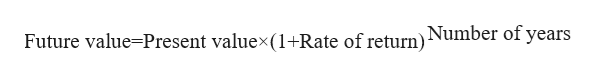 Future value=Present valuex(1+Rate of return)Number of years