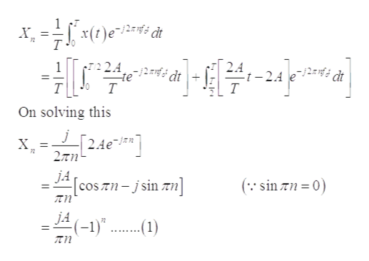 """X 72 Pper ( 1)x J= 2.A -t-2A T 2A2dt te T -j2anf dt H On solving this 24e X 72 JACosTnsin zn ( sin zn 0 JA(-1)'"""" j.A 72 .1)"""