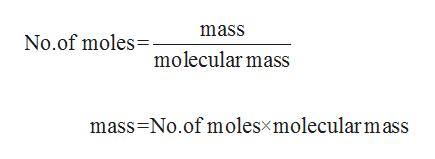 mass No.of molesolecular mass mass No.of molesxmolecularmass