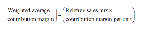(Relative sales mix x Weighted average contribution margin contribution margin per unit