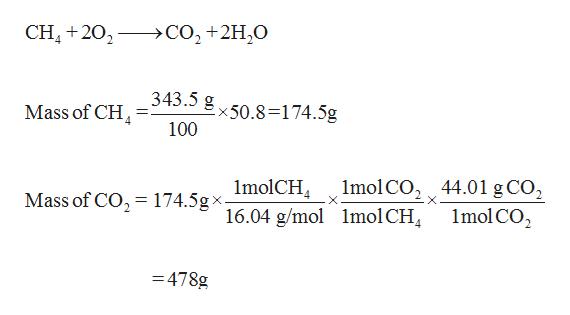 CH+202 CO2+2H20 343.5 g50.8=174.5g Mass of CH 100 1molCH gx. Mass of CO2174.5g^16.04 g/mol 1mol CO2 44.01 8CO2 X 1mol CO2 lmolCH, -478g
