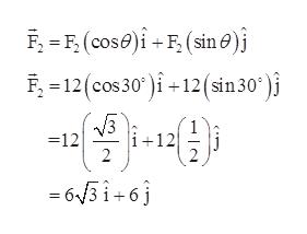 F-12(cos 30) 12(sn 30* )i 3 i+12 =12 2 63 16