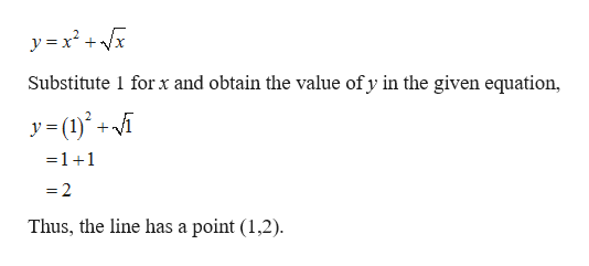 y x2x Substitute 1 forx and obtain the value of y in the given equation, y(i - 1 +1 2 Thus, the line has a point (1,2)