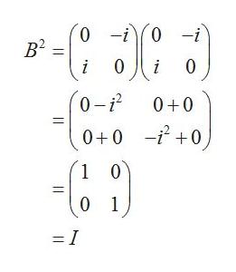 0 0 -i 0-i В? i 0 0-i2 0+0 0+0 i0 1 0 0 1 = I