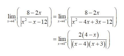 8 2x 8-2x lim x4 lim x4 - -x-12 4x3x 12 2(4-x) = lim (x-4)(x +3)