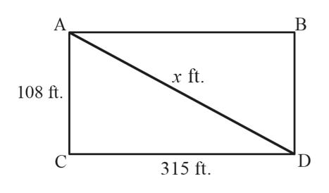 A r ft 108 ft D C 315 ft