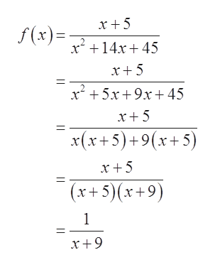 f(x) x14r45 x5x9x 45 x5 x(x+5)+9(x+5) x+5 |(x+5)(x+9) 1 || |