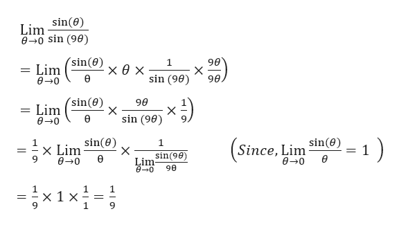 Lim sin(e) 00 sin (90) Lim (sin(0)x 0 * sin (960) 1 90 X 90 0-0 90 Lim sin(e) X sin (90) X 1 X Lim Sin(e) X Since, Lim sin(e) Limsin(90 e-0 90 1x 1 X 1