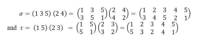 5 4 5 (2 4 1 3 1 2 3 (13 5) (2 4) a 4 5 5 3 4 2 2 4 5 5 1 2 (15) (2 3) and τ= 5 3 2 3 2 4 1