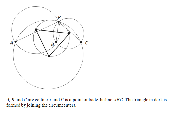 C A A, B and C are collinear and P is a point outside the line ABC. The triangle in dark is formed by joining the circumcenters