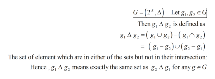 G(2,A) Let g, 8, eG Then g, A g, is defined as 8, A g, (gg)-(g,0g.) = (8,-8)U(g-8) The set of element which are in either of the sets but not in their intersection: Hence,g, A g2 means exactly the same set as g, A g, for any g e G