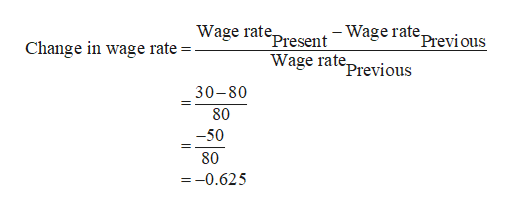 Wage ratepresent-WageratePrevi ous Wage rateprevious Change in wage rate 30-80 80 -50 80 =-0.625