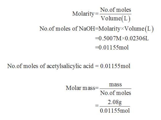 No.of moles Molarity= Volume(L) No.of moles of NaOH=Molarity×Volume(L) =0.5007M×0.02306L =0.01155mol No.of moles of acetylsalicylic acid = 0.01155mol mass Molar mass=. No.of moles 2.08g 0.01155mol