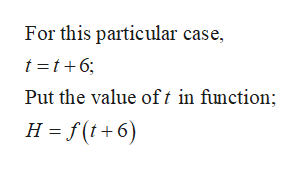 For this particular case, t t6 Put the value oft in function; H f(t+6)