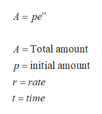 "A pe"" ре' A Total amount p initial amount r rate t time"