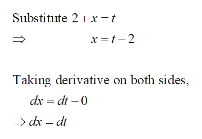 Substitute 2 x =t Taking derivative on both sides, dx dt 0 dx dt