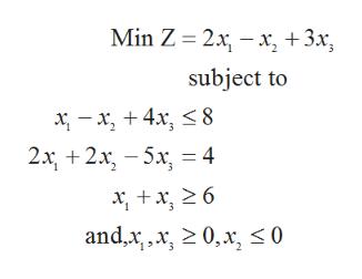 +3x Min Z 2xx subject to x, 4x, < 8 2x2x-5x4 andxx, 20,x 0