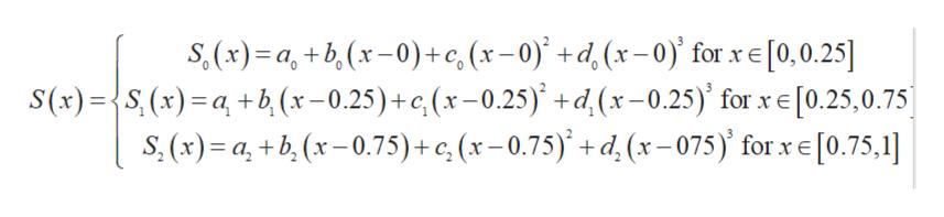 .(x)a,+b(x-0) + c, (x - 0)' +d,(x-0) for x e [0,0.25] S(x)={S (x) ab, (x- 0.25) + c, (x - 0.25) +d(x-0.25) for x e[0.25,0.75 s. (x) a,+b (x-0.75) + c, (x - 0.75) + d (x-075) for x e [0.75, 1]
