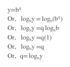 y=b Or, logby log (b°) Or, logy log,b Or, logyq1 Or, log,y q Or, qlogy