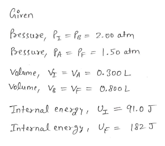Giren bessure, PPa = 2.00 atm Pressure, PA PF =  .50 atm Volume, VA Volume, Ve = VE = = 0. 300 L O.800 L 91.0 J Internal ene Internal energy F = 182 J