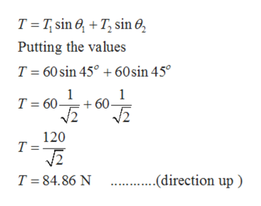 T Tsin T sin 0 Putting the values 60 sin 45 60sin 45° T T 60 60 V2 120 Т- (direction up T 84.86 N