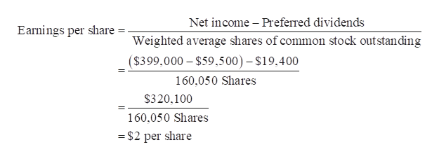Net income Preferred dividends Earnings per share Weighted average shares of common stock outstanding ($399,000 $59.500)- $19.400 160,050 Shares $320,100 160,050 Shares = $2 per share