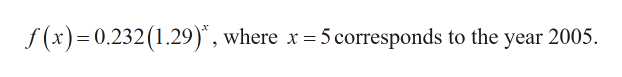 "f(x)0.232(1.29)"", where x 5 corresponds to the year 2005."