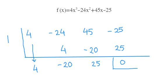 f(x) 4x3-24x2+45x-25 45 - 24 25 25 - 20 25 20 4
