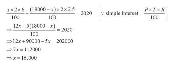 """simple interset P-TXR 100 xx2x6 (18000- x)x2x 2.5 0 + 100 100 12x 5(18000 x 2020 100 12x 90000-5x = 202000 7x 112000 x16,000"