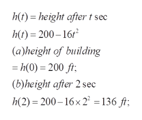 h)height after t sec ht) 200-16r (a)height of building h(0) 200 ft (b)height afier 2 sec h(2) 200-16x2 136 ft