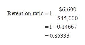 $6,600 Retention ratio =1- $45,000 =1-0.14667 =0.85333