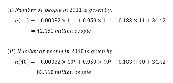 (i) Number of people in 2011 is given by, n(11)=0.00082 x 113 0.059 x 112 + 0.183 x 11 +34.42 = 42.481 million people (ii) Number of people in 2040 is given by, 0.00082 x 403 0.059 x 4020.183 x 40 34.42 n(40) 83.660 millioп реople