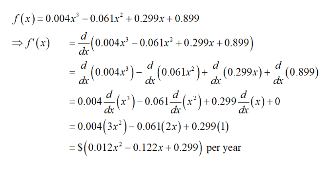 """f(x) 0.004x3 - 0.061x2 0.299x +0.899 d f(x) d0.004x30.06 lx2 +0.299x +0.899 d -(0.299x)+ d (0.899) d dr0.004x """"(0.061x dx d d =0.004 r)-0.061- dx d x)+0.299(x)+0 dx =0.004(3x2)-0.061(2x) +0.299 (1) = S(0.012x2-0.122.x + 0.299) per year"""