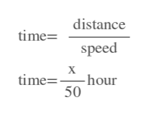 timedistance speed time= hour 50